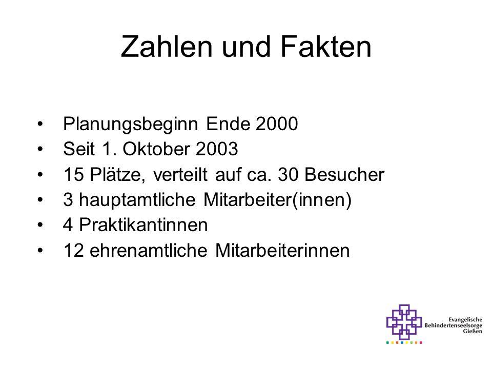 Zahlen und Fakten Planungsbeginn Ende 2000 Seit 1. Oktober 2003 15 Plätze, verteilt auf ca. 30 Besucher 3 hauptamtliche Mitarbeiter(innen) 4 Praktikan