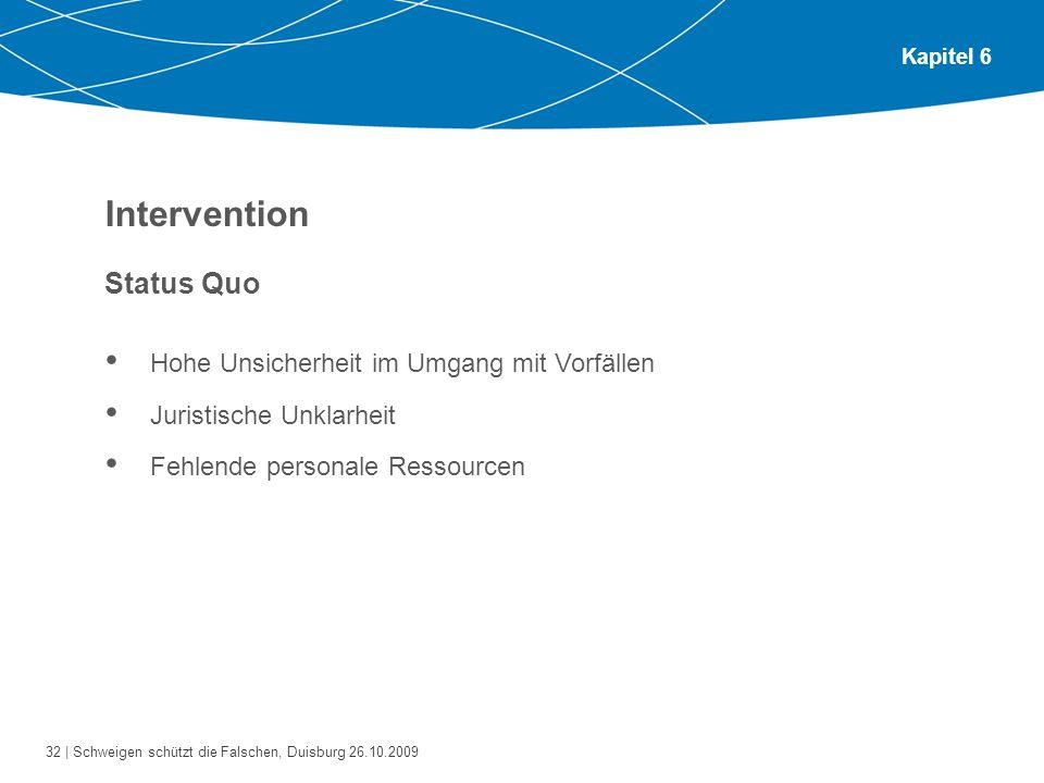 32 | Schweigen schützt die Falschen, Duisburg 26.10.2009 Kapitel 6 Intervention Status Quo Hohe Unsicherheit im Umgang mit Vorfällen Juristische Unkla