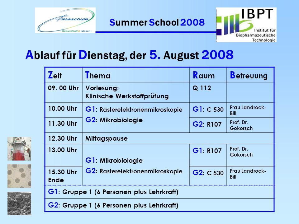 Summer School 2008 A blauf für M ontag, der 4. August 2008 Z eit T hema R aum B etreuung 09. 00 UhrVorlesung: ForschungQ 112 10.00 Uhr G1 : Enzymkinet