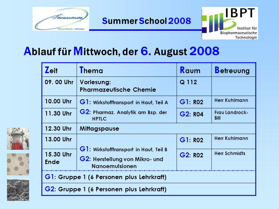 Summer School 2008 A blauf für D ienstag, der 5. August 2008 Z eit T hema R aum B etreuung 09. 00 UhrVorlesung: Klinische Werkstoffprüfung Q 112 10.00