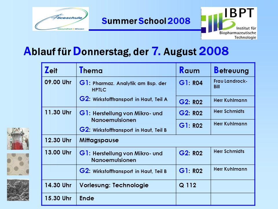 Summer School 2008 A blauf für M ittwoch, der 6. August 2008 Z eit T hema R aum B etreuung 09. 00 UhrVorlesung: Pharmazeutische Chemie Q 112 10.00 Uhr