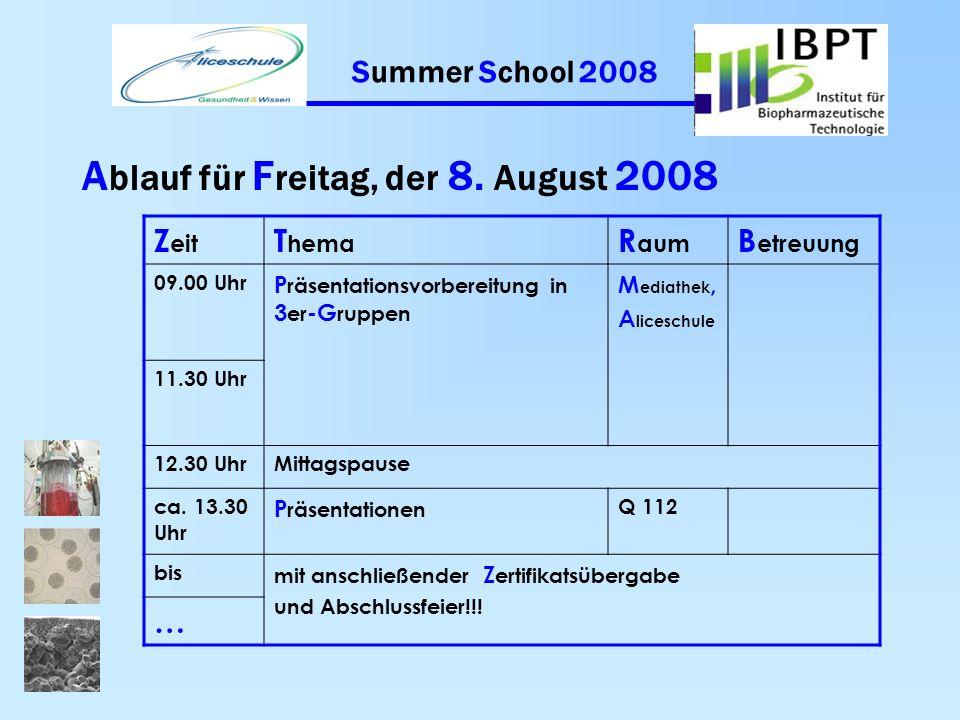 Summer School 2008 A blauf für D onnerstag, der 7. August 2008 Z eit T hema R aum B etreuung 09.00 Uhr G1 : Pharmaz. Analytik am Bsp. der HPTLC G2 : W