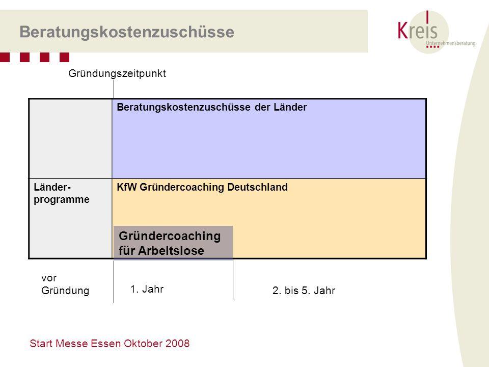 Start Messe Essen Oktober 2008 Beratungskostenzuschüsse Beratungskostenzuschüsse der Länder Länder- programme KfW Gründercoaching Deutschland Gründerc