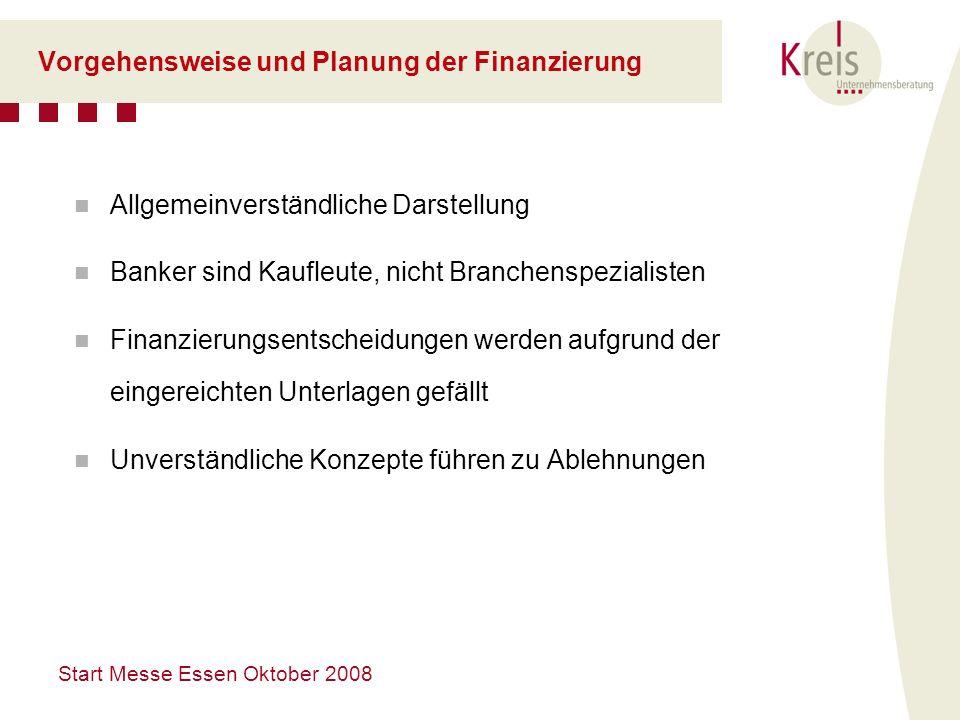 Start Messe Essen Oktober 2008 Vorgehensweise und Planung der Finanzierung Allgemeinverständliche Darstellung Banker sind Kaufleute, nicht Branchenspe
