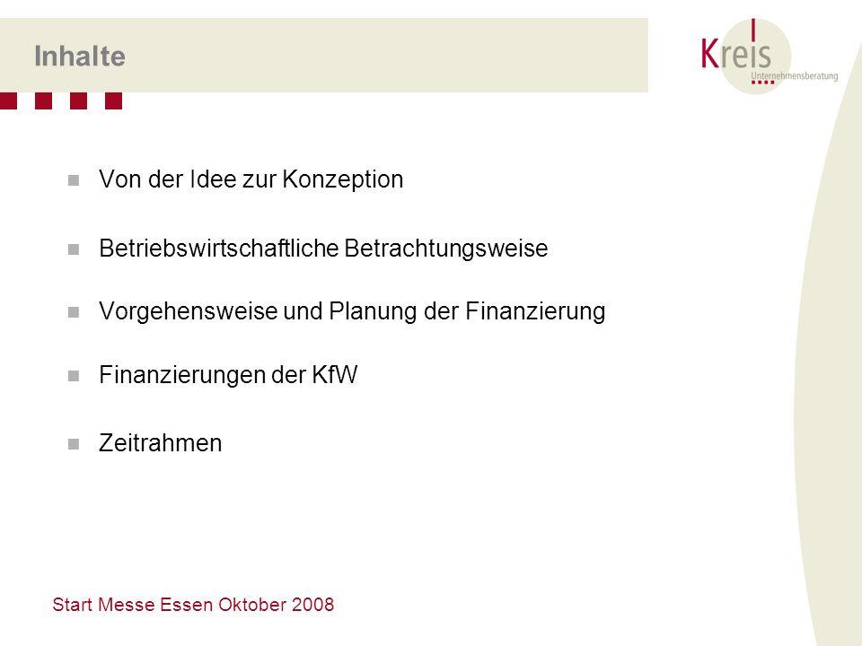Start Messe Essen Oktober 2008 Inhalte Von der Idee zur Konzeption Betriebswirtschaftliche Betrachtungsweise Vorgehensweise und Planung der Finanzieru