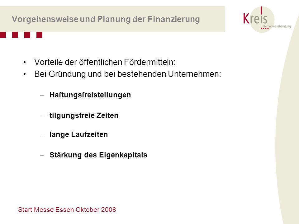 Start Messe Essen Oktober 2008 Vorgehensweise und Planung der Finanzierung Vorteile der öffentlichen Fördermitteln: Bei Gründung und bei bestehenden U