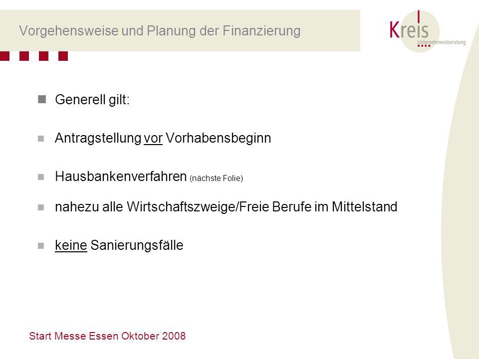 Start Messe Essen Oktober 2008 Vorgehensweise und Planung der Finanzierung Generell gilt: Antragstellung vor Vorhabensbeginn Hausbankenverfahren (näch