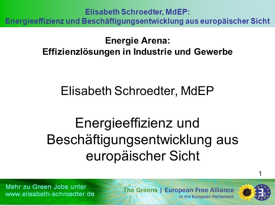 Elisabeth Schroedter, MdEP: Energieeffizienz und Beschäftigungsentwicklung aus europäischer Sicht 1 Energie Arena: Effizienzlösungen in Industrie und Gewerbe Elisabeth Schroedter, MdEP Energieeffizienz und Beschäftigungsentwicklung aus europäischer Sicht