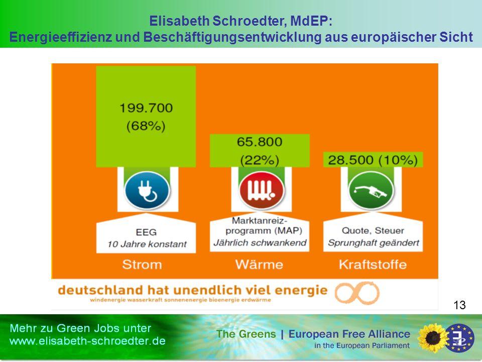 Elisabeth Schroedter, MdEP: Energieeffizienz und Beschäftigungsentwicklung aus europäischer Sicht 13