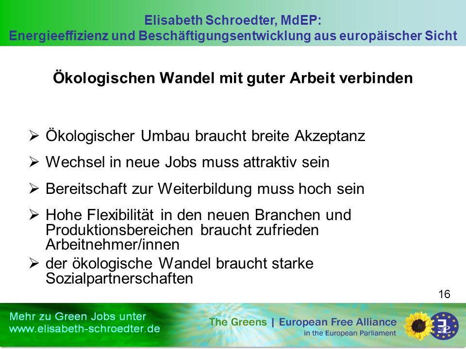 Elisabeth Schroedter, MdEP: Energieeffizienz und Beschäftigungsentwicklung aus europäischer Sicht 16 Ökologischen Wandel mit guter Arbeit verbinden Ök