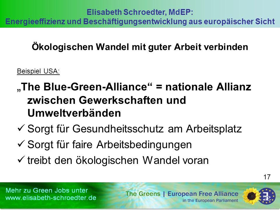 Elisabeth Schroedter, MdEP: Energieeffizienz und Beschäftigungsentwicklung aus europäischer Sicht 17 Ökologischen Wandel mit guter Arbeit verbinden Be