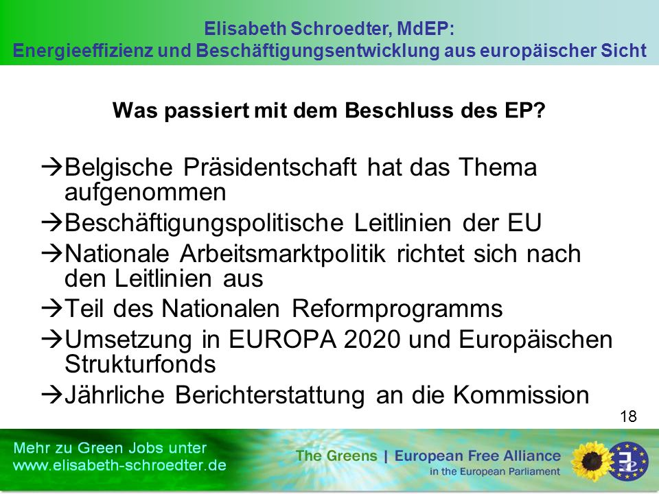 Elisabeth Schroedter, MdEP: Energieeffizienz und Beschäftigungsentwicklung aus europäischer Sicht 18 Was passiert mit dem Beschluss des EP? Belgische