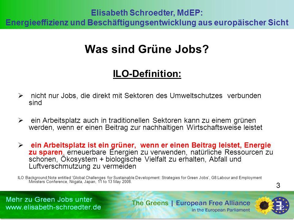 Elisabeth Schroedter, MdEP: Energieeffizienz und Beschäftigungsentwicklung aus europäischer Sicht 3 Was sind Grüne Jobs? ILO-Definition: nicht nur Job