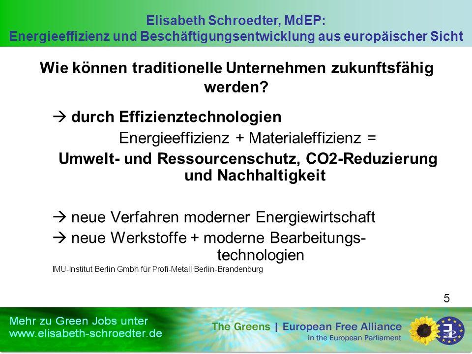 Elisabeth Schroedter, MdEP: Energieeffizienz und Beschäftigungsentwicklung aus europäischer Sicht 5 Wie können traditionelle Unternehmen zukunftsfähig werden.