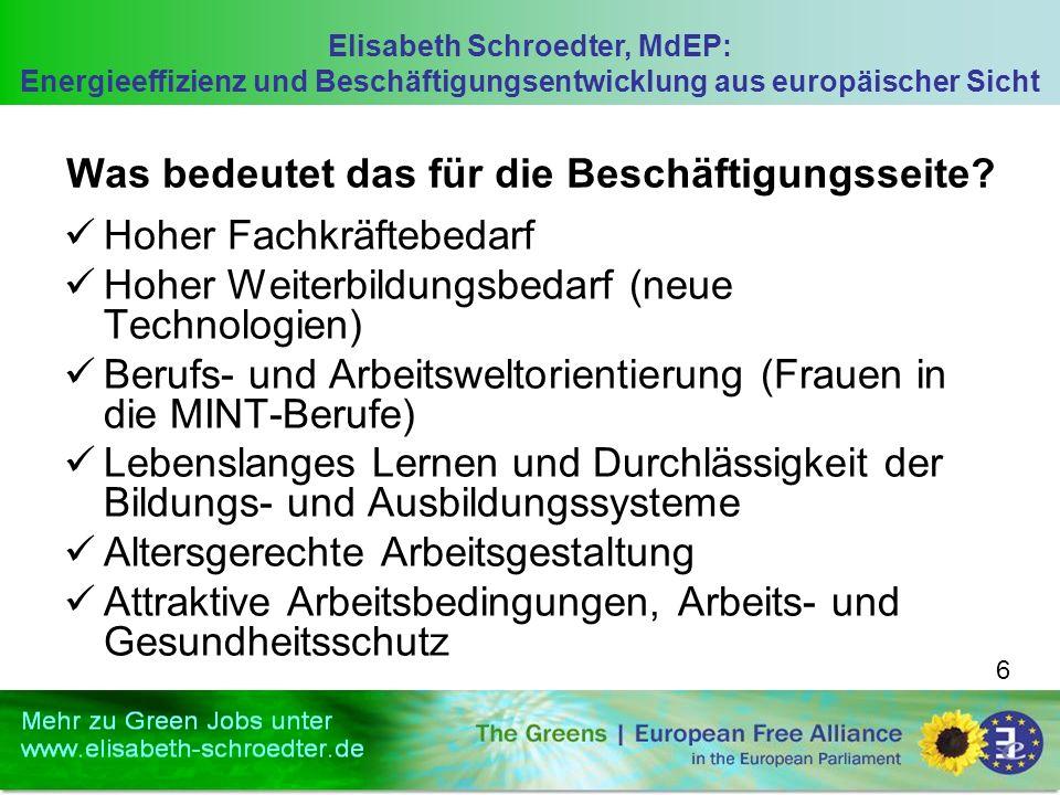 Elisabeth Schroedter, MdEP: Energieeffizienz und Beschäftigungsentwicklung aus europäischer Sicht 6 Was bedeutet das für die Beschäftigungsseite? Hohe