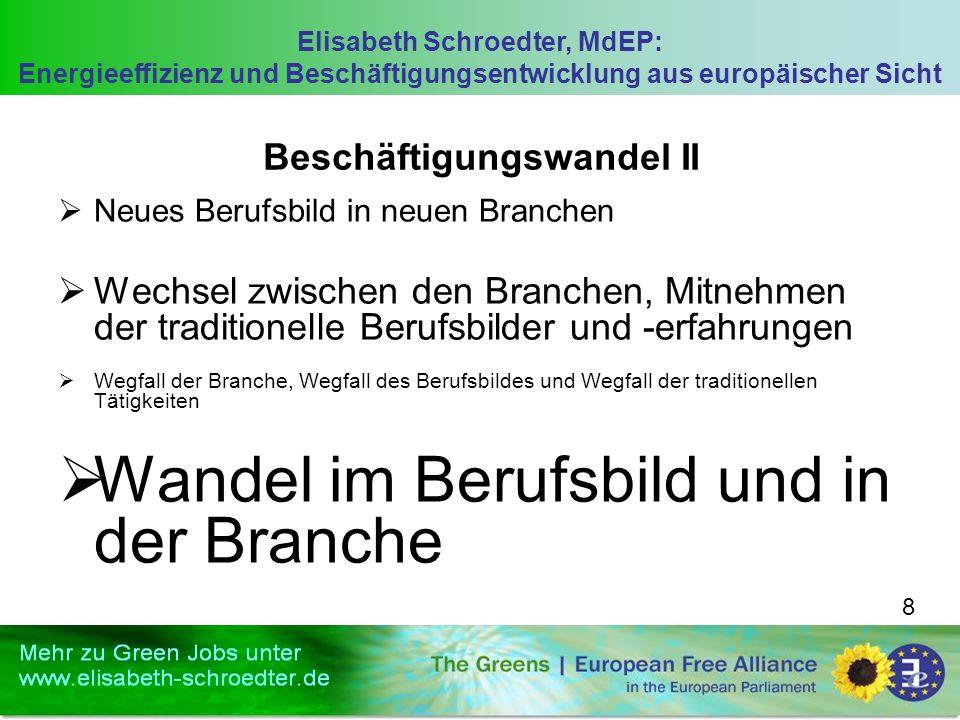 Elisabeth Schroedter, MdEP: Energieeffizienz und Beschäftigungsentwicklung aus europäischer Sicht 8 Beschäftigungswandel II Neues Berufsbild in neuen