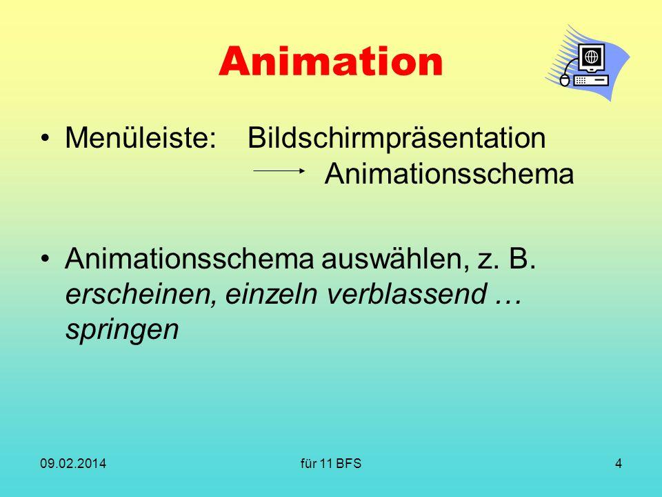 für 11 BFS4 Animation Menüleiste:Bildschirmpräsentation Animationsschema Animationsschema auswählen, z. B. erscheinen, einzeln verblassend … springen