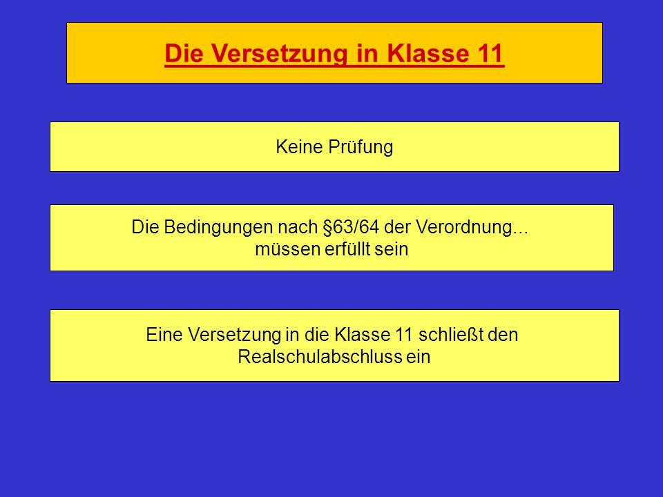 Die Versetzung in Klasse 11 Keine Prüfung Die Bedingungen nach §63/64 der Verordnung...