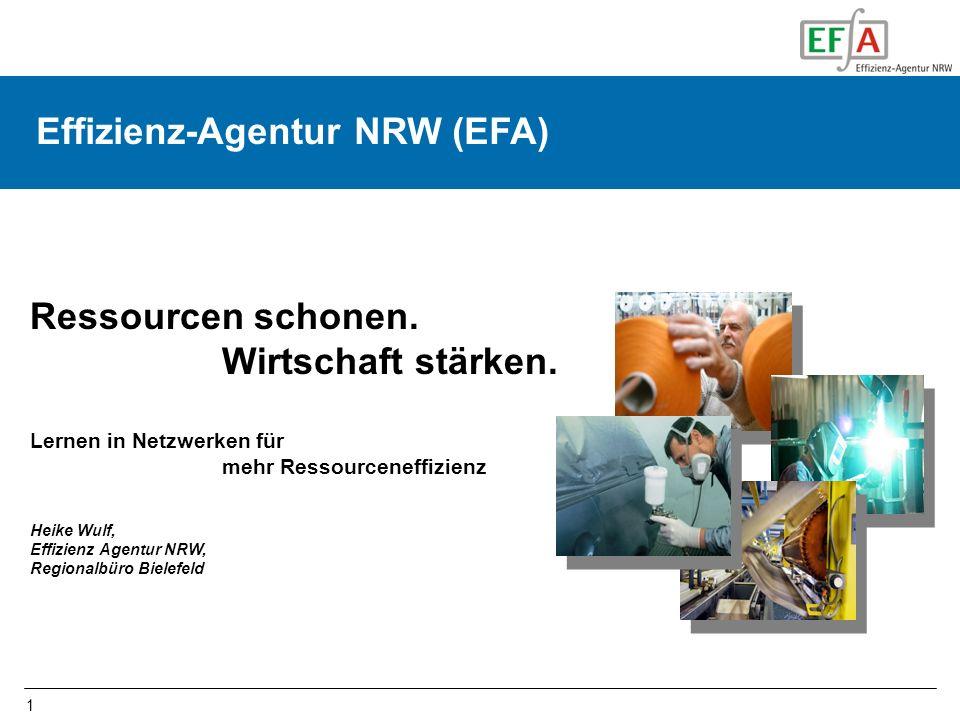 1 Effizienz-Agentur NRW (EFA) Ressourcen schonen. Wirtschaft stärken. Lernen in Netzwerken für mehr Ressourceneffizienz Heike Wulf, Effizienz Agentur
