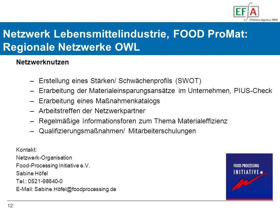 12 FOOD-ProMat Netzwerknutzen –Erstellung eines Stärken/ Schwächenprofils (SWOT) –Erarbeitung der Materialeinsparungsansätze im Unternehmen, PIUS-Chec