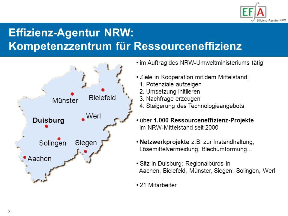 3 Organisation der EFA Effizienz-Agentur NRW: Kompetenzzentrum für Ressourceneffizienz im Auftrag des NRW-Umweltministeriums tätig Ziele in Kooperatio