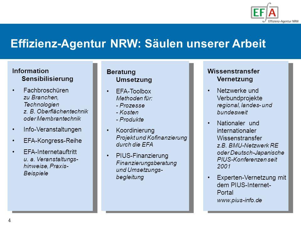 4 Organisation der EFA Effizienz-Agentur NRW: Säulen unserer Arbeit Information Sensibilisierung Fachbroschüren zu Branchen, Technologien z. B. Oberfl
