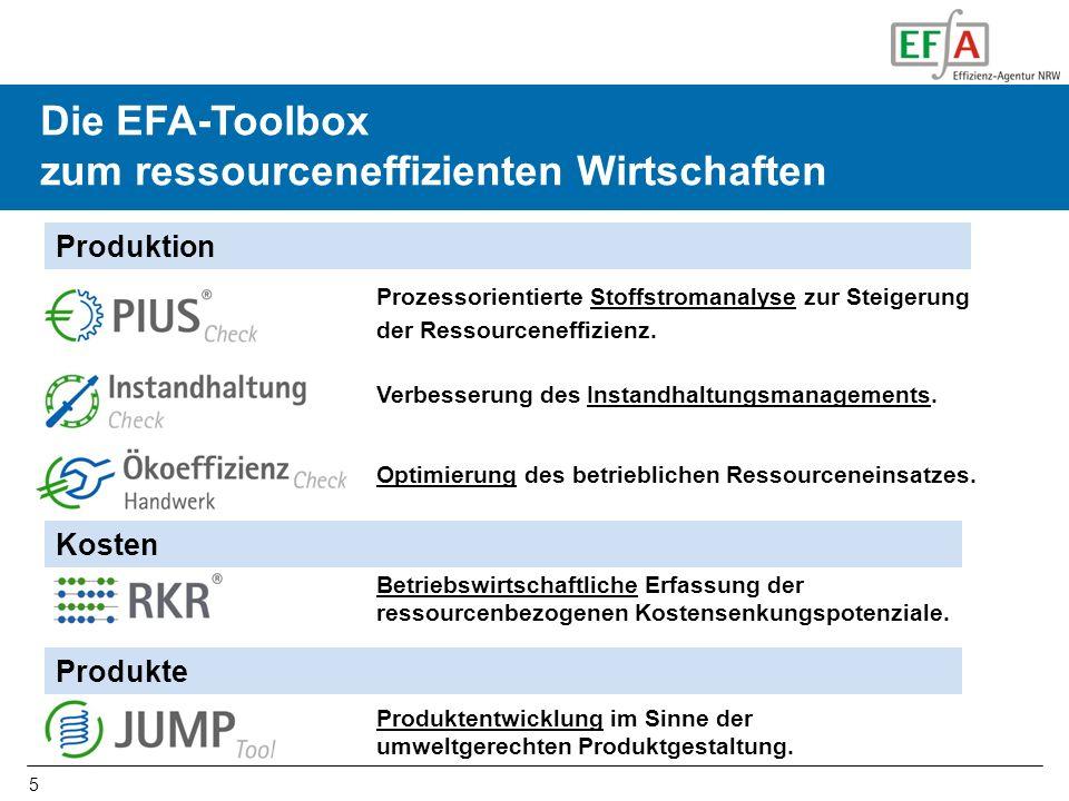 5 Die EFA-Toolbox zum ressourceneffizienten Wirtschaften Prozessorientierte Stoffstromanalyse zur Steigerung der Ressourceneffizienz. Betriebswirtscha