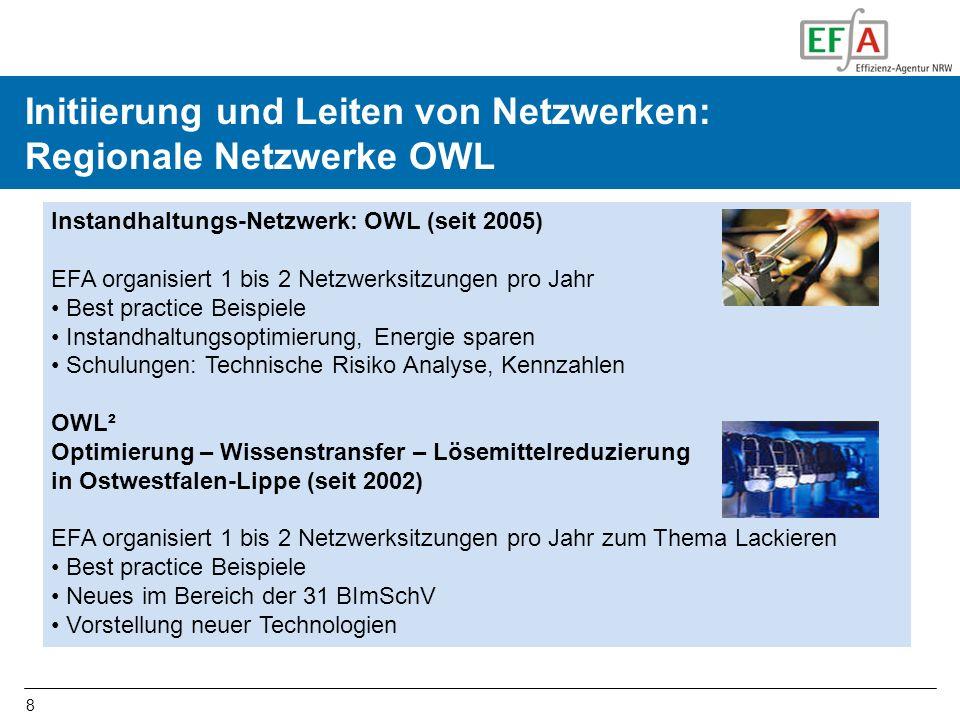 8 Initiierung und Durchführen von Netzwerken in OWL Instandhaltungs-Netzwerk: OWL (seit 2005) EFA organisiert 1 bis 2 Netzwerksitzungen pro Jahr Best