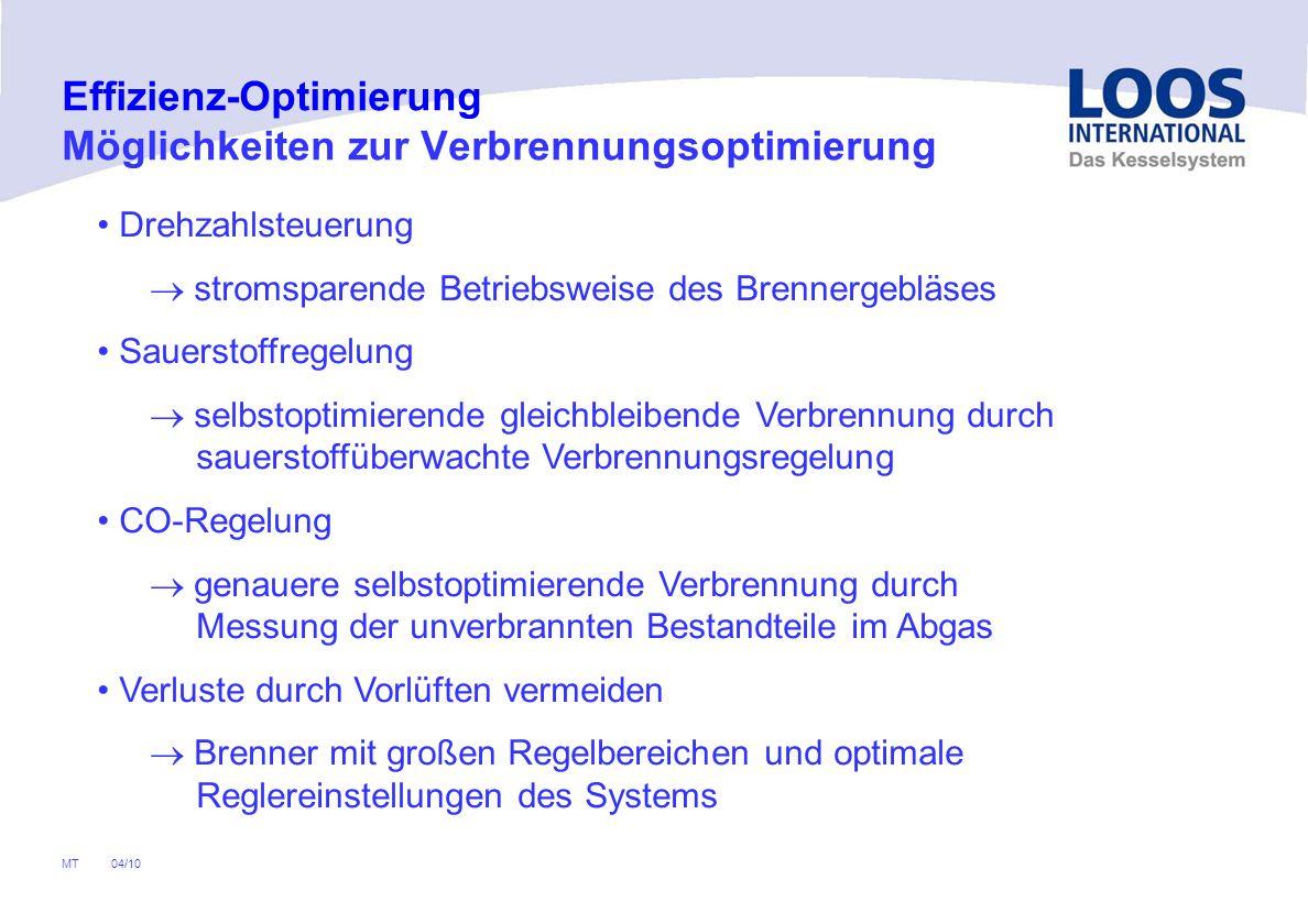04/10 MT Effizienz-Optimierung Verbrennungsoptimierung - Drehzahlsteuerung Stromaufnahme des Gebläses sinkt Geräusch- emission sinkt Stromaufnahme des