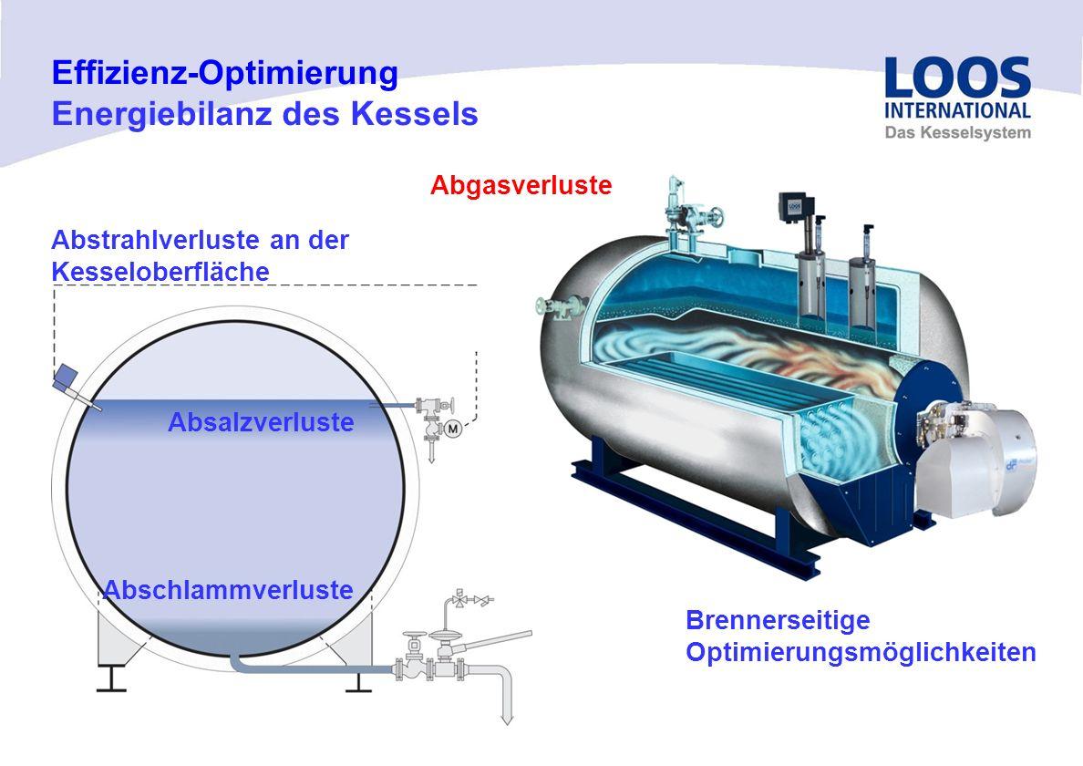 04/10 MT Effizienz-Optimierung Energiebilanz des Kessels Abschlammverluste Absalzverluste Abstrahlverluste an der Kesseloberfläche Abgasverluste Brennerseitige Optimierungsmöglichkeiten