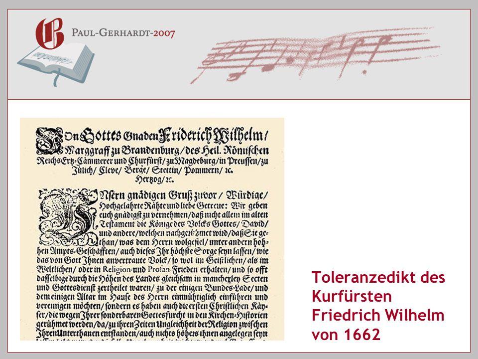 Toleranzedikt des Kurfürsten Friedrich Wilhelm von 1662