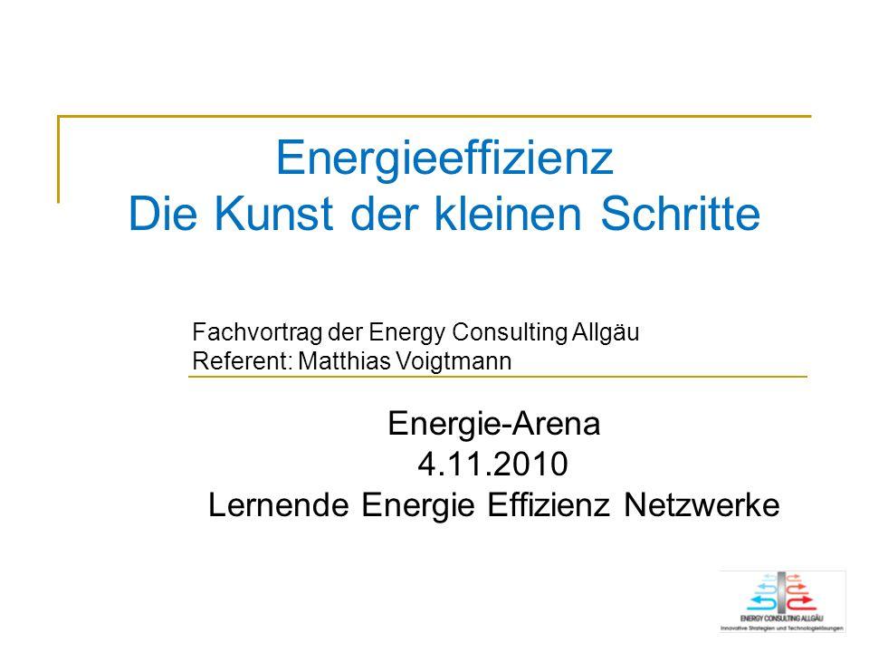 Energieeffizienz Die Kunst der kleinen Schritte Energie-Arena 4.11.2010 Lernende Energie Effizienz Netzwerke Fachvortrag der Energy Consulting Allgäu