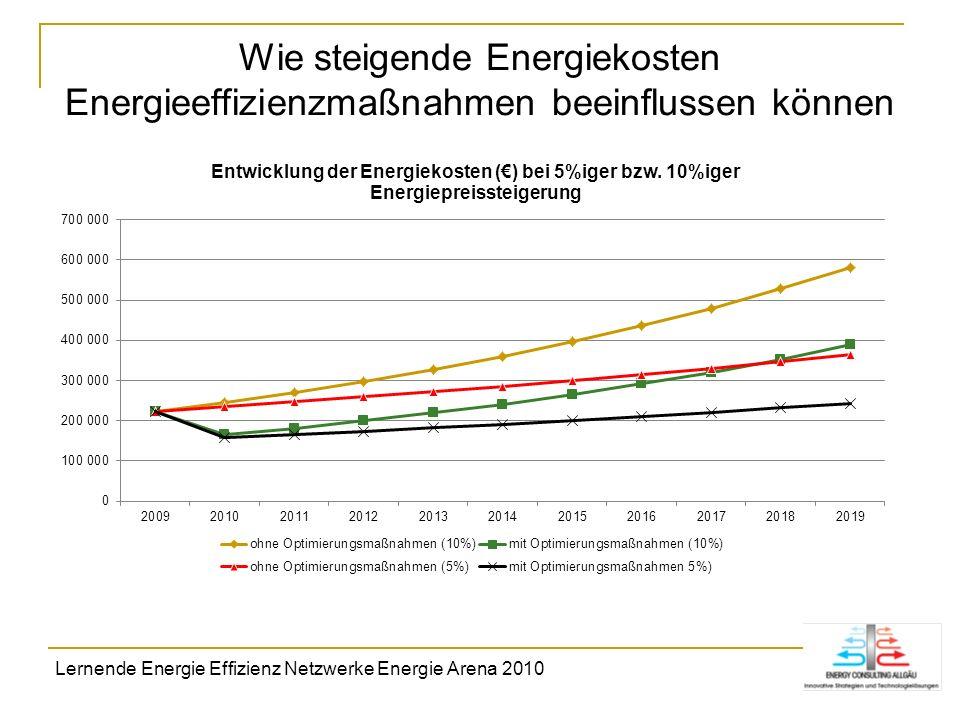 Wie steigende Energiekosten Energieeffizienzmaßnahmen beeinflussen können Lernende Energie Effizienz Netzwerke Energie Arena 2010