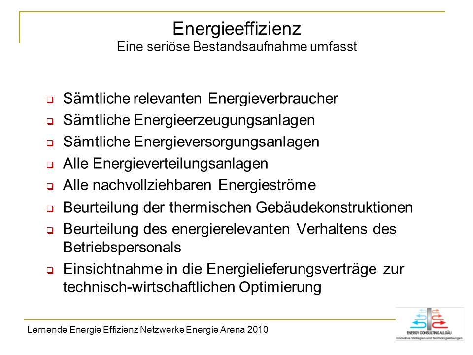 Energieeffizienz Eine seriöse Bestandsaufnahme umfasst Sämtliche relevanten Energieverbraucher Sämtliche Energieerzeugungsanlagen Sämtliche Energiever