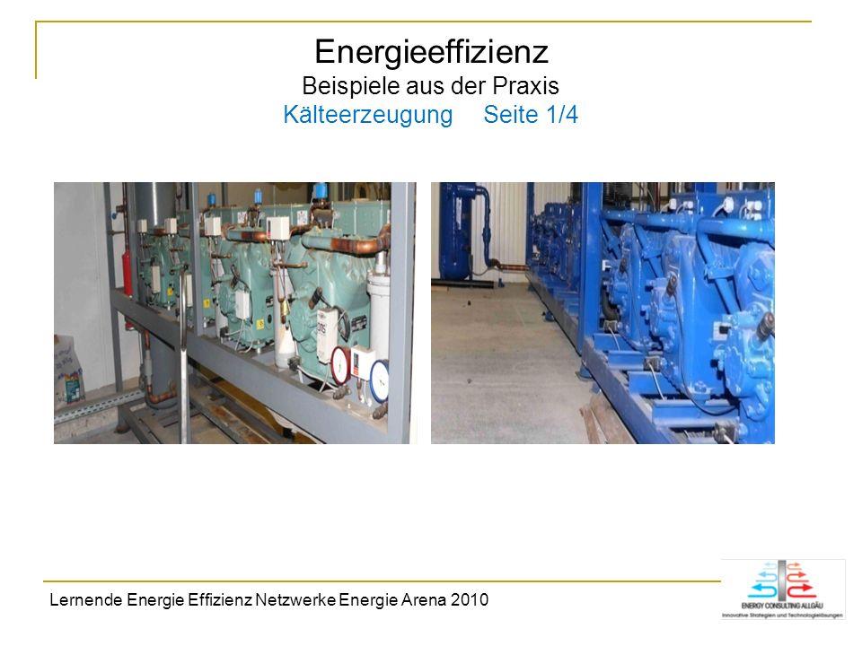 Energieeffizienz Beispiele aus der Praxis Kälteerzeugung Seite 1/4 Lernende Energie Effizienz Netzwerke Energie Arena 2010
