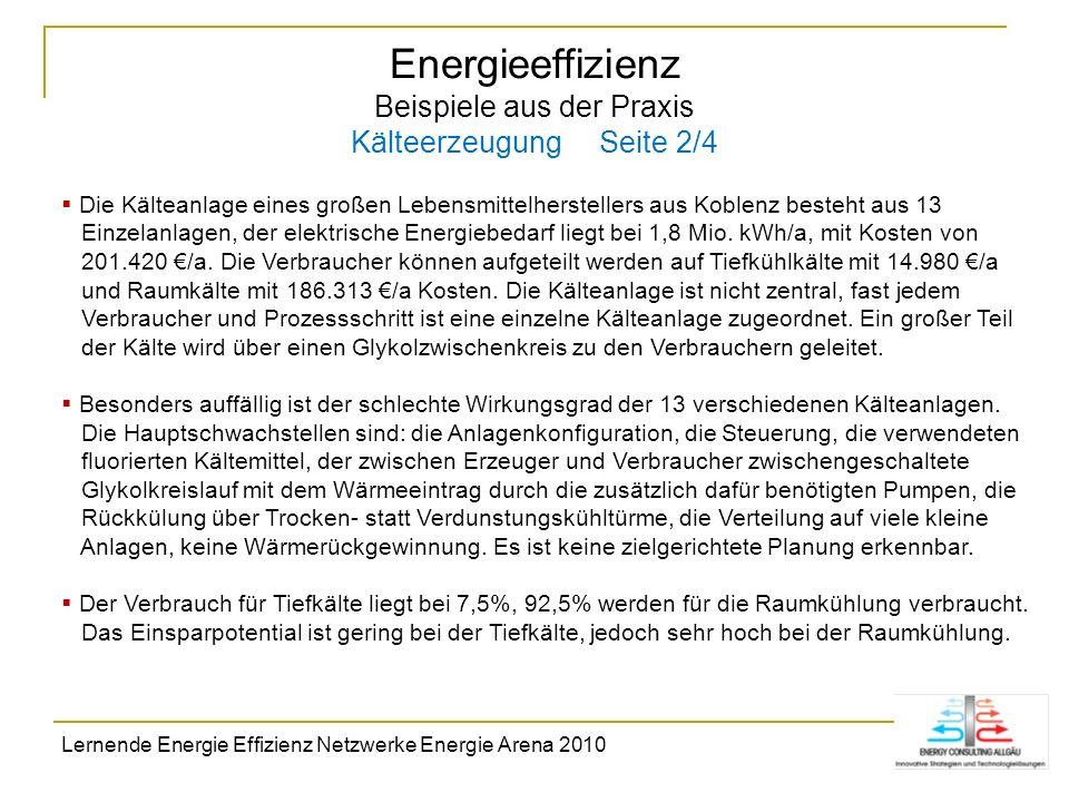 Energieeffizienz Beispiele aus der Praxis Kälteerzeugung Seite 2/4 Die Kälteanlage eines großen Lebensmittelherstellers aus Koblenz besteht aus 13 Ein