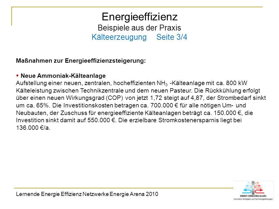 Energieeffizienz Beispiele aus der Praxis Kälteerzeugung Seite 3/4 Maßnahmen zur Energieeffizienzsteigerung: Neue Ammoniak-Kälteanlage Aufstellung ein