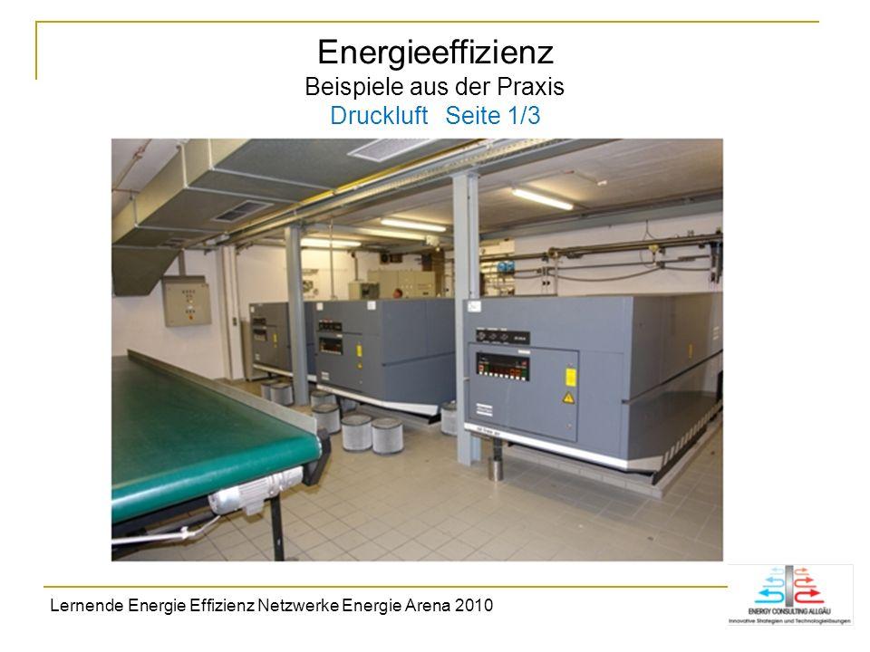 Energieeffizienz Beispiele aus der Praxis Druckluft Seite 1/3 Lernende Energie Effizienz Netzwerke Energie Arena 2010