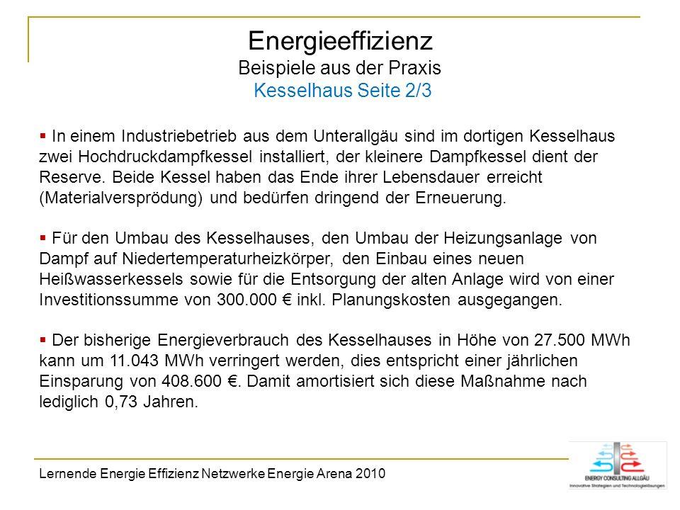 Energieeffizienz Beispiele aus der Praxis Kesselhaus Seite 2/3 In einem Industriebetrieb aus dem Unterallgäu sind im dortigen Kesselhaus zwei Hochdruc