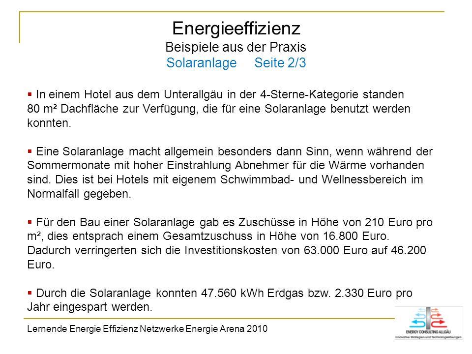Energieeffizienz Beispiele aus der Praxis Solaranlage Seite 2/3 In einem Hotel aus dem Unterallgäu in der 4-Sterne-Kategorie standen 80 m² Dachfläche