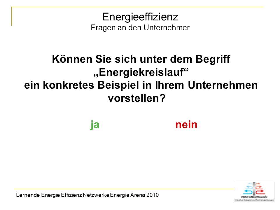 Energieeffizienz Fragen an den Unternehmer Können Sie sich unter dem Begriff Energiekreislauf ein konkretes Beispiel in Ihrem Unternehmen vorstellen?