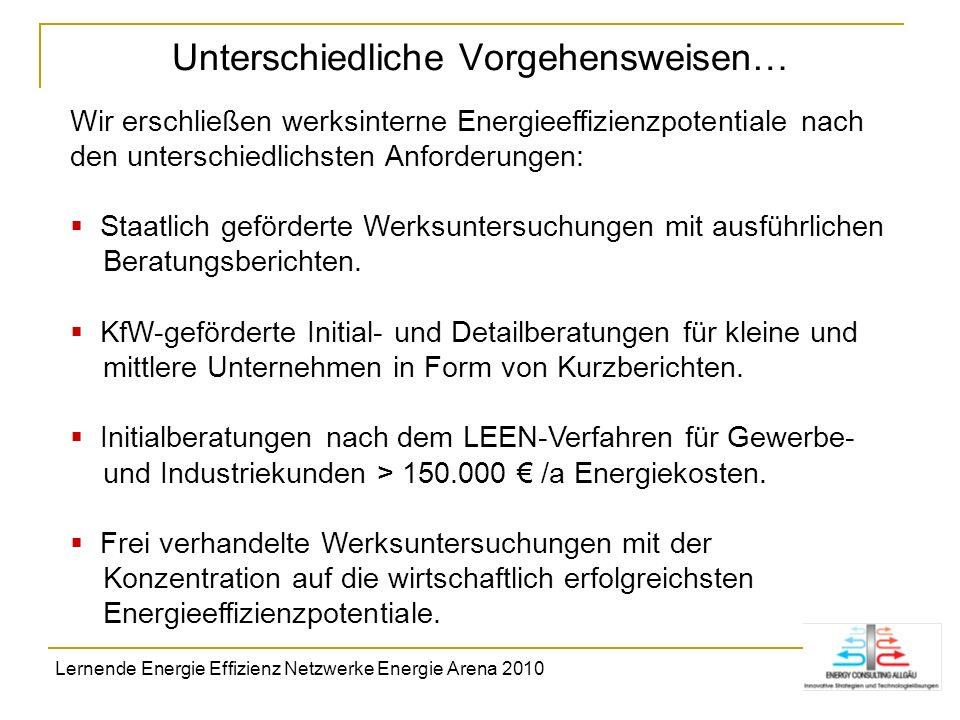 Unterschiedliche Vorgehensweisen… Wir erschließen werksinterne Energieeffizienzpotentiale nach den unterschiedlichsten Anforderungen: Staatlich geförd