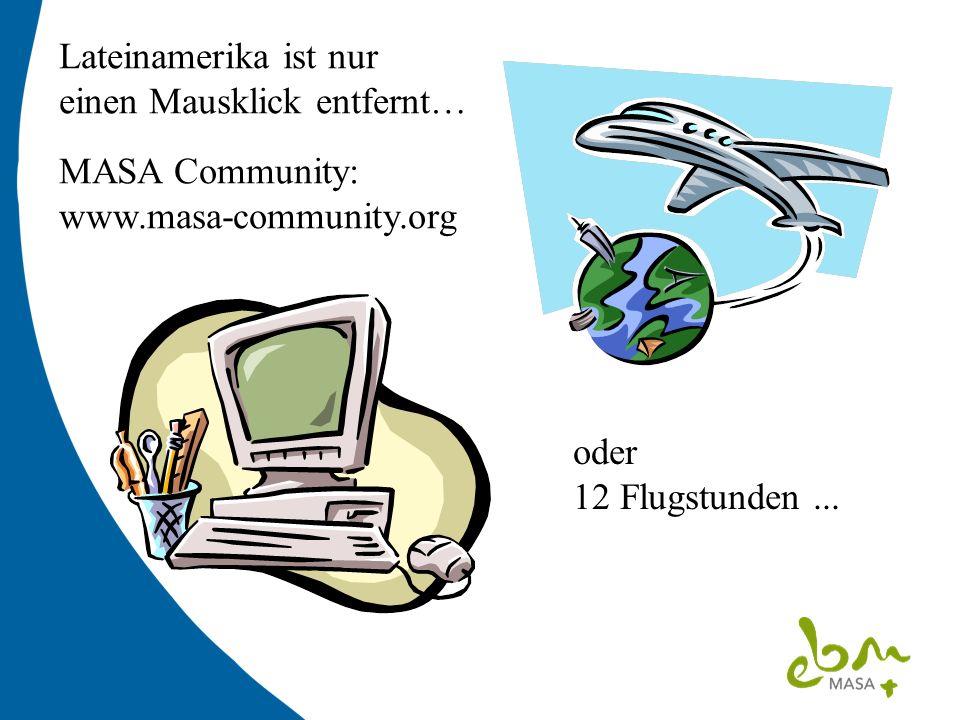 Lateinamerika ist nur einen Mausklick entfernt… MASA Community: www.masa-community.org oder 12 Flugstunden...