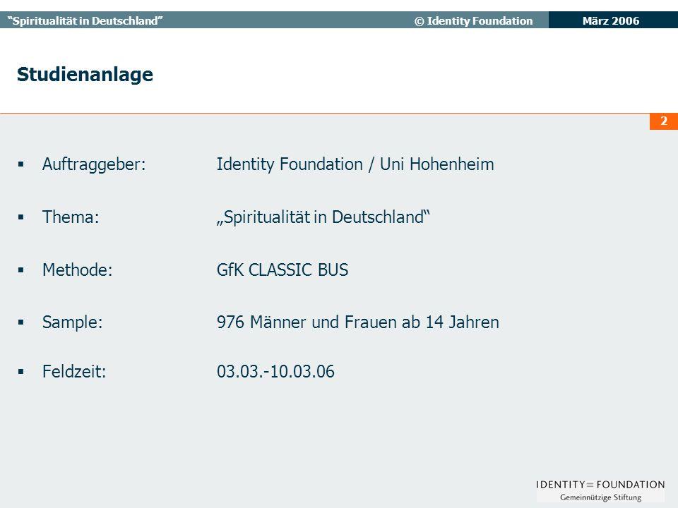 März 2006 Spiritualität in Deutschland© Identity Foundation 3 4: Hier ist eine Liste mit verschiedenen Religionen und Glaubensrichtungen.