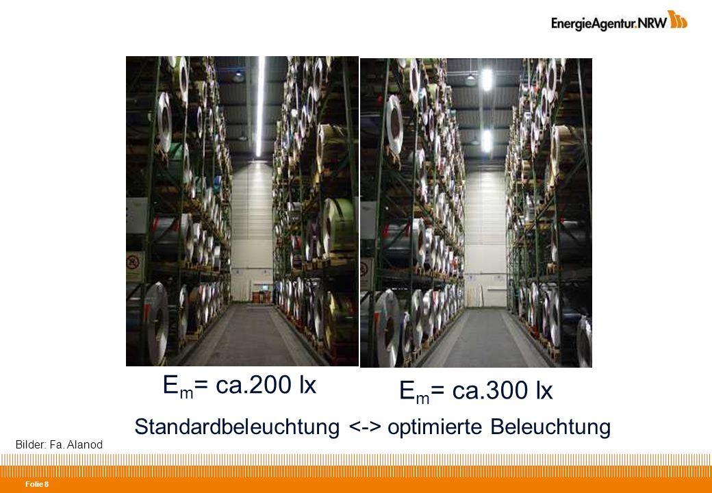 Folie 19 Effiziente Beleuchtungssysteme 1)Effizienz der Lampe 2)Effizienz der Leuchte 3) Lichtlenkung 4) Bedarfsgerechtes Licht 5) Vor- und Nachteile der Systeme berücksichtigen - Farbwiedergabe - Lichtfarbe - Schalt-/Dimmfähigkeit - Temperaturverhalten - Brillianz - Leistung....