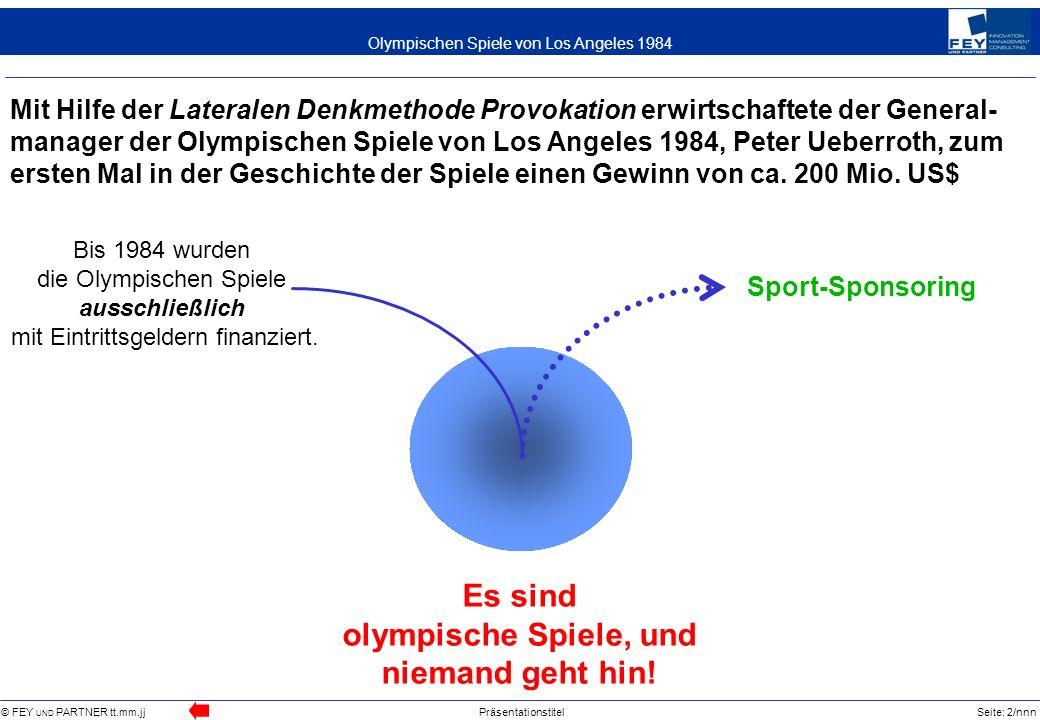 © FEY UND PARTNER tt.mm.jjPräsentationstitelSeite: 2/nnn Olympischen Spiele von Los Angeles 1984 Mit Hilfe der Lateralen Denkmethode Provokation erwir
