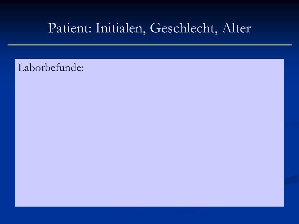 Patient: Initialen, Geschlecht, Alter Laborbefunde: