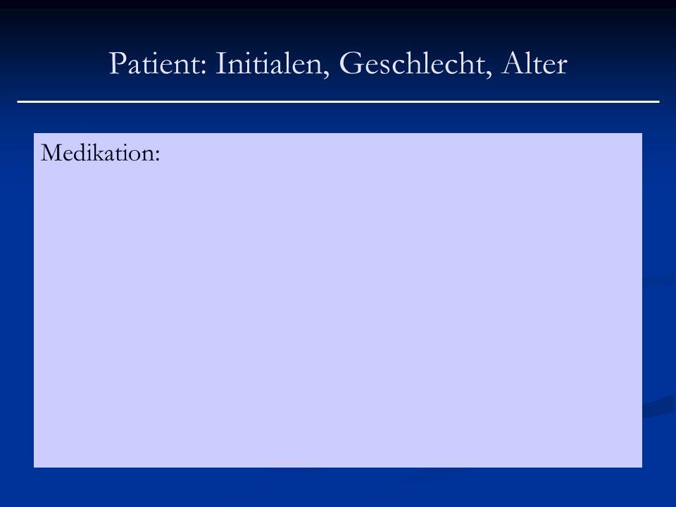 Patient: Initialen, Geschlecht, Alter Medikation: