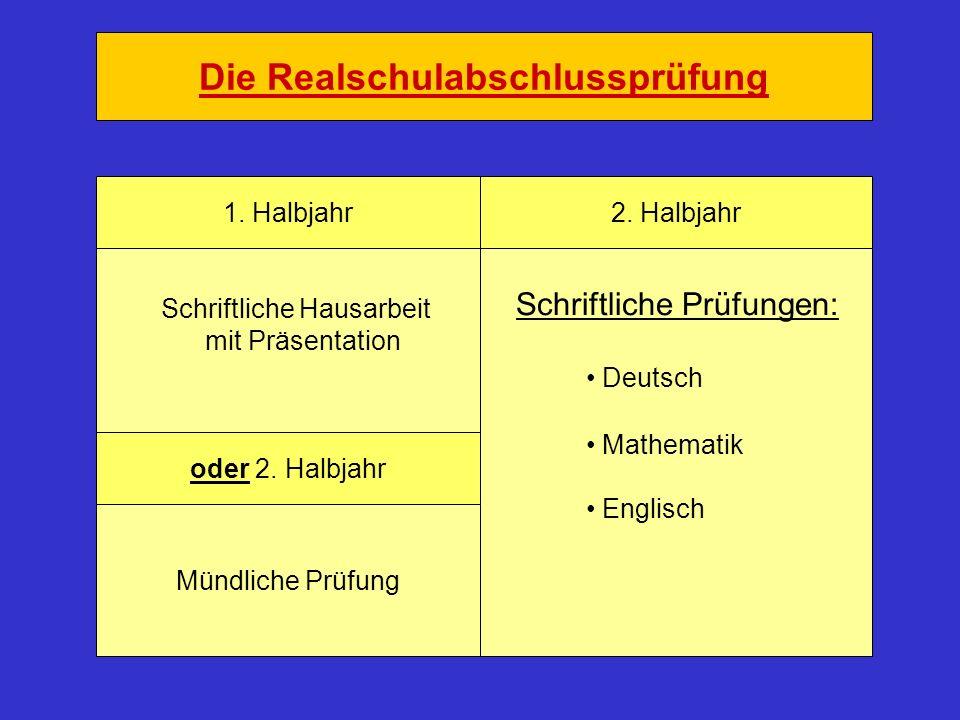 Die Realschulabschlussprüfung 1. Halbjahr2. Halbjahr oder 2. Halbjahr Schriftliche Prüfungen: Deutsch Mathematik Englisch Schriftliche Hausarbeit mit
