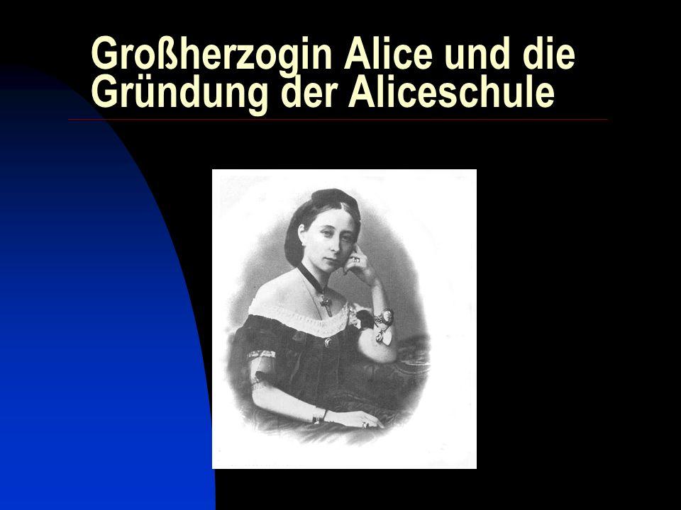 1874 neuer Name: Alice-Verein für Frauenbildung und Erwerb 1875 aus einem Kurs für Handarbeitslehrerinnen geht 1877 die Industrieschule hervor Darmstadt